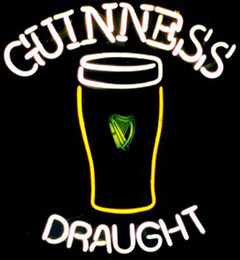 """Wholesale Guinness Bar Signs - Guinness Draught Glass Bottle Neon Sign Custom Handmade Real Glass Tube Store Beer Bar KTV Club Hotel Advertising Display Neon Signs 14""""X17"""""""