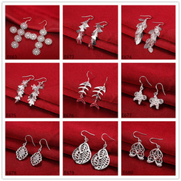 Wholesale Dangle Chandelier Sterling Silver - Factory direct sale women's sterling silver earring 10 pairs a lot mixed style EME55,wholesale fashion 925 silver Dangle Chandelier earrings