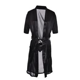 Weiße silk frauen kleidet online-Großhandels-Rot / Weiß / schwarze Frauen-langes reizvolles SEIDEN-Kimono-Kleid-Kleid-Bademantel-Babydoll-Wäsche-Nachthemd-Großverkauf