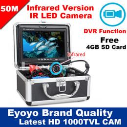 "Wholesale Underwater Fishing Dvr - Wholesale-Eyoyo Original 50M 1000TVL HD CAM Professional Fish Finder Underwater Fishing Video Recorder DVR 7"" w  Infrared IR LED lights"
