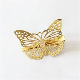 Wholesale Headpieces China - 1PC Hot Women Shiny Golden Butterfly Hair Clip Headband Hairpin Accessory Headpiece Hair Accessories A5R37
