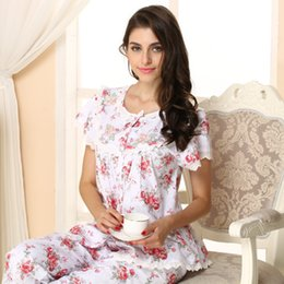 Wholesale Woman Elegant Pajamas - 2016 Pyjama Women Free Shipping Summer Short-sleeve Women's Pajamas 100% Cotton Sleepwear Elegant Pijamas Round Neck