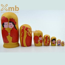 Wholesale Wooden Chinese Doll - 2016 Nesting Doll Chinese Classical Wedding Matryoshka 7 pieces Home Decor Handmade Toys Crafts