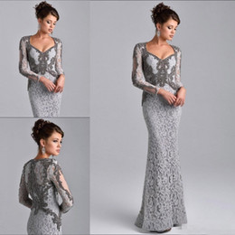 Wholesale Sliver Sequin Dress - Sexy Mermaid Mother of The Bride Dresses Long Sleeves Sliver Gray Suits Groom Cheap prom Dress Crystals Lace Evening Gowns V Neck