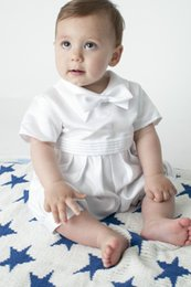 Wholesale Custom Baby Boy Outfits - Baby Boys 4 Piece Christening Outfit   Christening Suit White Check