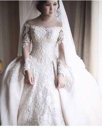 Wholesale Elegant Wedding Gowns Bling - 2017 Newest Elegant White Tulle Off Shoulder Sheer Long Sleeve lace Applique Beaded Bling Zuhair Murad Wedding Dresses Bridal Gowns