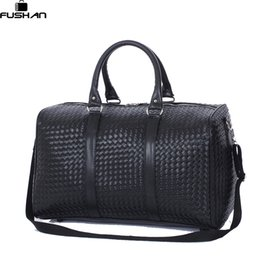 Wholesale Boys Suitcases - Wholesale- Fashion PU Leather Men Travel Bag Versatile Women Travel Bag Waterproof Black Cool Zipped Shoulder Bags Handbag luggage