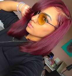 Wholesale 99j Lace Fronts - Luffy Wig Silky Straight Left Part Short Bob Hair Style #99J Lace Front Glueless 100% Brazilian Hair Wig for Women
