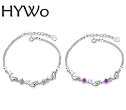 Wholesale Dolphin Bracelets - HYWo shop unique DIY 925 Silver zircon crystal dolphin bracelet for fashion women gift pulseras factory direct special wholesale