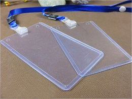 Wholesale Hard Plastic Business Cards - ID Holders Case PVC Hard Plastic Sleeve Business Badge Card Holder with Necklace Lanyard LOGO Customize Brand