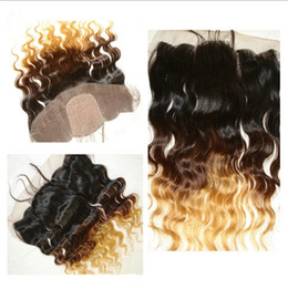 Wholesale Brazilian Silk Top Lace Closure - Virgin Brazilian Hair Ombre Silk Base Lace Frontal Closure Body Wave #1B 4 27 Honey Blonde Two Tone Colored Silk Top Lace Frontal