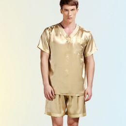 Venta al por mayor-2016 nuevos hombres de verano pijamas de seda ropa de dormir masculinos cortos de manga corta conjuntos 100% satén de seda hombres pijamas Homewear desde fabricantes