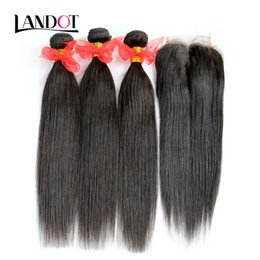 hair straightening machines Coupons - Top Lace Closure With 3 Bundles Brazilian Malaysian Peruvian Indian Cambodian Straight Hair Weaves Natural Black 100% Human Hair Extensions