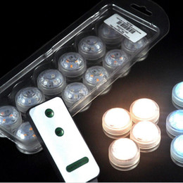 Wholesale Mini Led Party - 12pcs Lot Wedding Decoration 3 RGB LED Remote Control Mini Waterproof Submersible Led Party Lights With Battery For Halloween Xmas Party