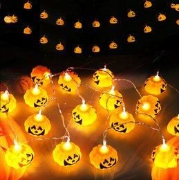 Wholesale Halloween Pumpkin Lantern - 2.5M Hanging Halloween Pumpkin Lantern 3D Plastic Skull String Light 16 LED AC 110V 220V Orange Pumpkin Lights Halloween Holiday Decor
