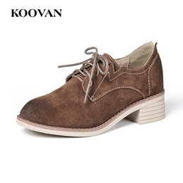 Wholesale Women Brown Oxford Heels - Koovan Student Genuine Leather Women Shoes School Oxford Fashion Shoe 2017 Hot Sale New Spring Autumn High Quality Soft Bottom W391