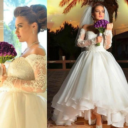Wholesale Beaded Dress Slit Skirt - 2016 Vintage Hi-Lo Wedding Dresses Off Shoulder Ruffle Skirt Lace Beaded Illusion Sleeves Sexy Back Bridal Gowns