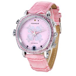 Wholesale finish french - Wholesale- Fashion Wifi DVR Watch Women Pink Mini P2P Pocket Mini DVR WIFI Watch With Classic Dial Gem finish WIFI DVR Watch
