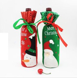 Wholesale Cheap Christmas Table Cloth - Red Wine Bottle Covers christmas table decorations Articles Christmas Gift Bags Wine Packaging christmas Cheap party decorations
