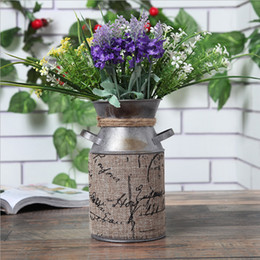 Wholesale Country Style Wedding Decorations - Elegant French Style Country Rustic Primitive Jug Vase Milk Can with Tied and Linen Decoration Perfect For Wedding Party Decoration