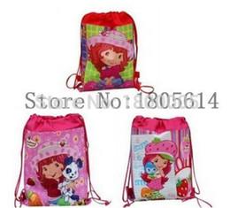 Wholesale Strawberry Shortcake Gifts Girls - 12 Pcs Cute Cartoon Movies strawberry shortcake Girl Drawstring Backpack Tote School Bag String Bags Children bag For Gift