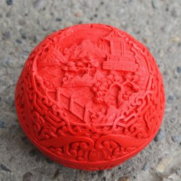 Wholesale Traditional Folk Crafts - Features classical Chinese traditional lacquer 3-inch carved lacquer jewelry box Peony folk crafts lacquer lacquer small gifts