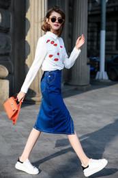 Wholesale Euro Fashion Blouse - Women Euro Red Lips Print Blouse Turn-Dow Collar Asymmetric White Shirt OL Fashion