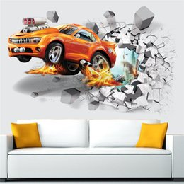 Wholesale Wall Paper Designs For Bedrooms - 3D Football Wall Stickers Creative Car Wall Paper for Children's room Home bedroom decration home decra wall 2 Designs 50pcs