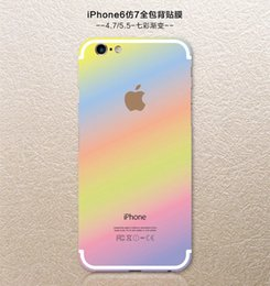 Wholesale Glitter Stickers For Phones - Rainbow Back Sticker Bling Glitter Film Apple For Iphone 6 6S Plus 4.7 5.5 I6 Phone Colorful Skin Cover With Logo PU Leather Grain 10pcs