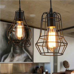 Wholesale Vintage Small Chandelier - Edison vintage lamp Wrought iron Pendant lighting Small iron cages Chandelier Restaurant Kitchen Lighting Fixture For Bar Cafe Restaurant