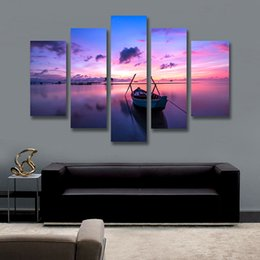 Wholesale Painting Boats - 5 Panel Canvas Art Sunset Painting Seaside Boat Painting Canvas Prints Artwork Home Decor Picture for Living Room Unframed