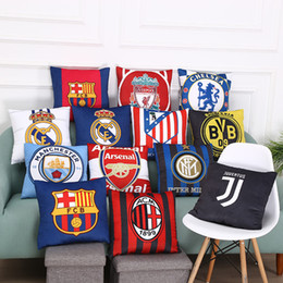 Wholesale Real Madrid Case - 42*42cm Real Madrid Football Pillow Case Personality Football Team Square Cushion Sofa Car Livingroom Bedroom Pillow Covers 17 Style XL-G223