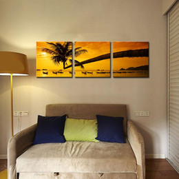 Wholesale Palms Trees Pictures - Landscape Painting Canvas Prints Picture Sensations no Framed Huge 3-panel Tropical Palm Tree Sunset Peace Giclee Canvas Art For Home Decor