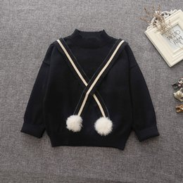 Wholesale Knit Cardigan Sweater For Kids - Girl sweaters for kids 2016 autumn knitting Tassel kids pullover cute girls outfits baby sweater 1-5y kids wool pompom sweater