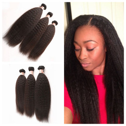 Wholesale Human Hair Weave Malaysia - Cheap Malaysia Kinky Straight Weave Bundles Malaysian Coarse Yaki Hair Natural Black 3pcs Lot Human Hair Italian Yaki Weave G-EASY