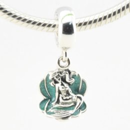 Wholesale Pandora Sea Glass - Ariel & Sea Shell 100% 925 Sterling Silver Beads Fit Pandora Charms Bracelet Authentic DIY Fashion Jewelry