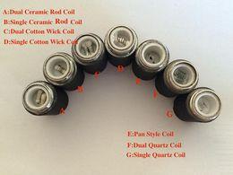 Wholesale E Cig Wicks Cotton - E Cig Skillet Coil Head Replacement Ego Atomizer Dual Quartz Ceramic Single Dual Ceramic Coil Cotton Wick For Replacement Skillet Tank