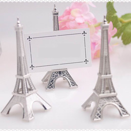 "Wholesale eiffel tower place card holders - New Fashion ""Evening in Paris"" Eiffel Tower Silver-Finish Place Card Holder Wedding Table Decoration"