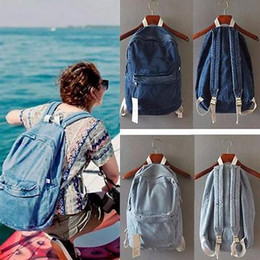 Wholesale Vintage School - Unisex Vintage Washed Denim Jean Rucksack Shoulder School Bag Boys Girl Travel Matching Backpack 2 Colors YYA372