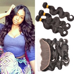 Wholesale Top Grade Malaysian Hair Extensions - Human Hair Weave With Closure Grade 7A Top Hair Extensions Peruvian Indian Malaysian Brazilian Body Wave Frontal Closures And Bundle