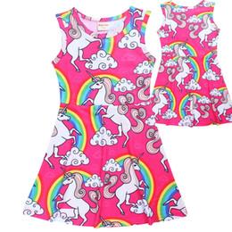 Wholesale Corn Prints - HOT New Baby Girls Dress Fashion Cartoon Unicorn Printed Sleeveless Dresses Children Clothing Dress Corn Cute Girl Party Dress A7691