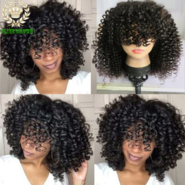 Wholesale Virgin Curls Full Lace Wig - Kinky Curly Full Lace Wig Human Hair Indian Virgin Hair Glueless Lace Front Wigs With Bangs Deep Curl Human Hair Wig Baby Hair