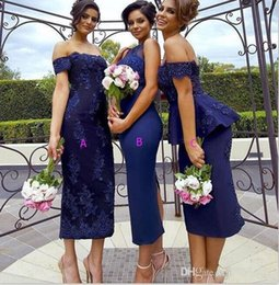 Wholesale Satin Peplum Wedding Dress - Navy Blue Arabic Sheath Bridesmaid Dresses Lace Off The Shoulder Sexy Peplum Wedding Guest Dress Tea Length Back Split Party Dress