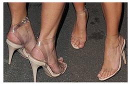 Wholesale Kardashian Shoes - Sexy Kim Kardashian Sandal Women Transparent Plastic Ankle Strap Sandal Stilettos High Heel Sandals Plus Size Custom Size Women Shoes 2016