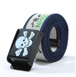 Wholesale Head Belt Buckle Sales - Skull head Canvas belt fashion belt leisure wild hot sale street fashion men and women belt hip hop Canvas belt