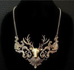cadeaux de trônes de jeu Promotion Wapiti collier jeu de trônes collier mode ventage tête de wapiti pendentifs européen américain cadeaux de Noël collier KKA2682