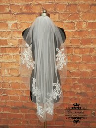 Wholesale Short Crystal Veils - 2016 Free Shipping Short Lace Applique Veil With Crystal Veils for weddings Real Sample Cheap Wedding Accessories Hot Sale Custom Made New