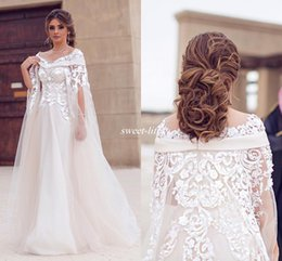 Wholesale Long Winter Wedding Cloaks - Modest Arabic Wedding Dresses with Cloak Illusion Off Shoulder Appliqued Lace Floor Length Pearl 2016 Outdoor Wedding Bridal Gowns Plus Size