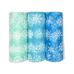 Wholesale Organza Gift Bows - Snowflake Organza Tulle Roll Spool Fabric Ribbon Bolt DIY Tutu Skirt Gift Craft Party Bow Wedding Party Christmas Decoration