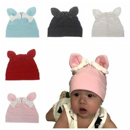 Wholesale baby kids rabbit ear hat - 2017 autumn winter new design bowknot baby hat cute rabbit ear kids cap Europe style warm outside hat infant beanies